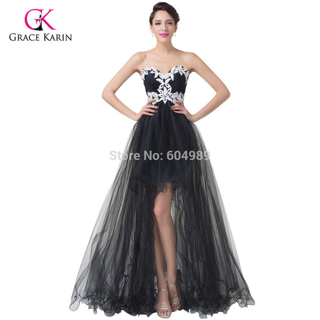 5603953b85f Grace Karin Black Tulle lace Long Evening Dresses 2018 short front long  back Prom Dress women Celebrity Formal Gowns 6191