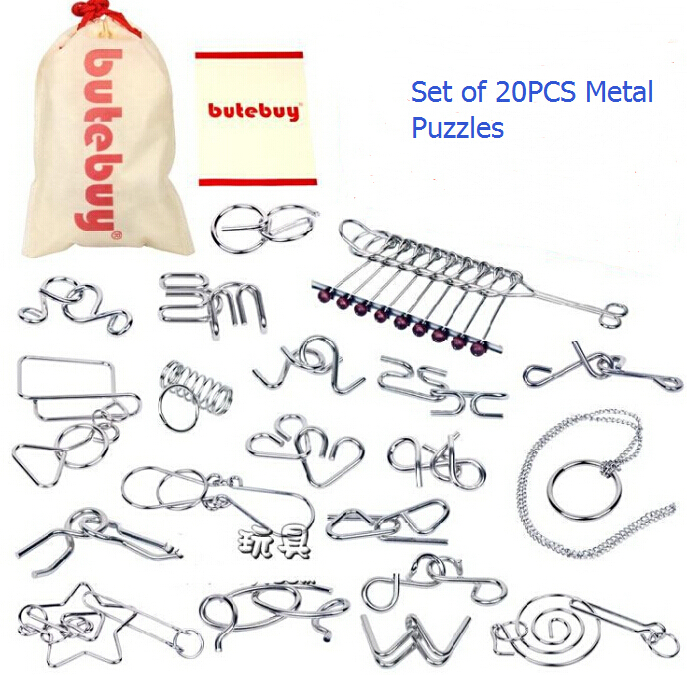 20PCS/Set Gift Brain teaser Disentanglement Metal Wire Puzzles Game Toy Solution for Adults Children Kids