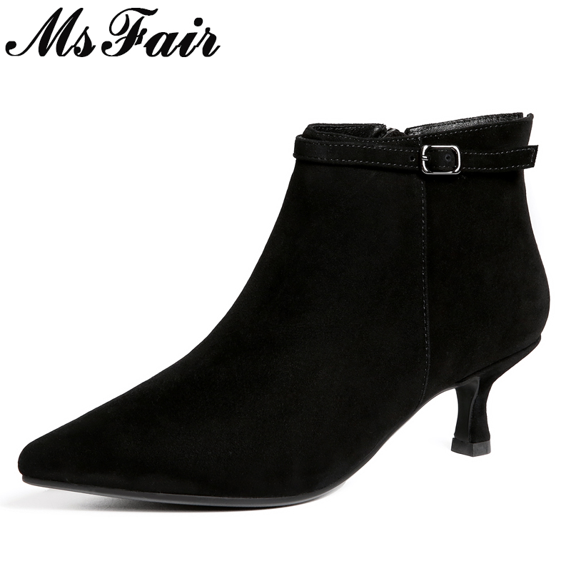 MSFAIR Pointed Toe Thin Heels Women Boots Casual Fashion Zipper Ankle Boots Women Shoes Metal Buckle Med Heel Boots Woman Brand цена