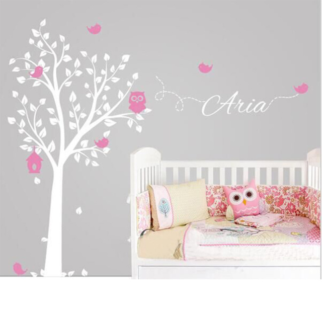 POOMOO Stickers Owl Tree Wall Sticker Personalized Name Vinyl Wall Decals  For Nursery Boys And Girls