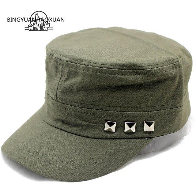 BINGYUANHAOXUAN Men Baseball Caps Rivet Logo Flat Top Hats Cotton Snapback  Flat Cap Army Cadet Hat 21c2a5322b5d