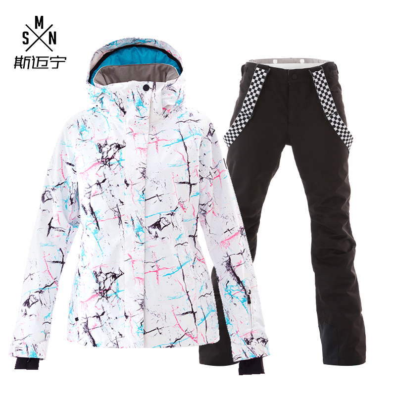 Livraison Gratuite Femmes de combinaison de Ski D'hiver En Plein Air combinaison de Ski Coupe-Vent Imperméable Respirant Chaud Sous-Vêtements Veste + Pantalon de Ski Ensembles