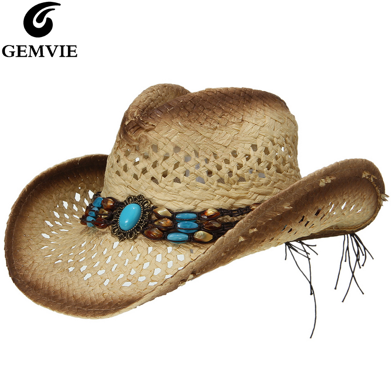 GEMVIE New Cowgirl Summer Hat Straw Hat For Women Bead Belt Western Cowboy Hat For Men Lady Trendy Woven Sun Hat Beach Cap