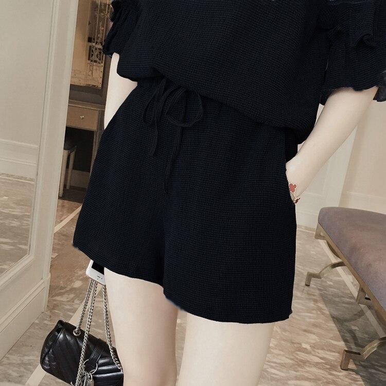 M-4xl 2018 Summer Two Piece Set Women Short Sleeve Tops+shorts Sets Suits Casual Fashion Office Female Set Plus Size Black Navy