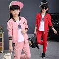 2 Unids niñas chaqueta + pantalones de la Nueva Llegada 2017 de los niños Sistemas de la ropa de Primavera y Otoño de las muchachas grandes del béisbol jersey chándal boutique