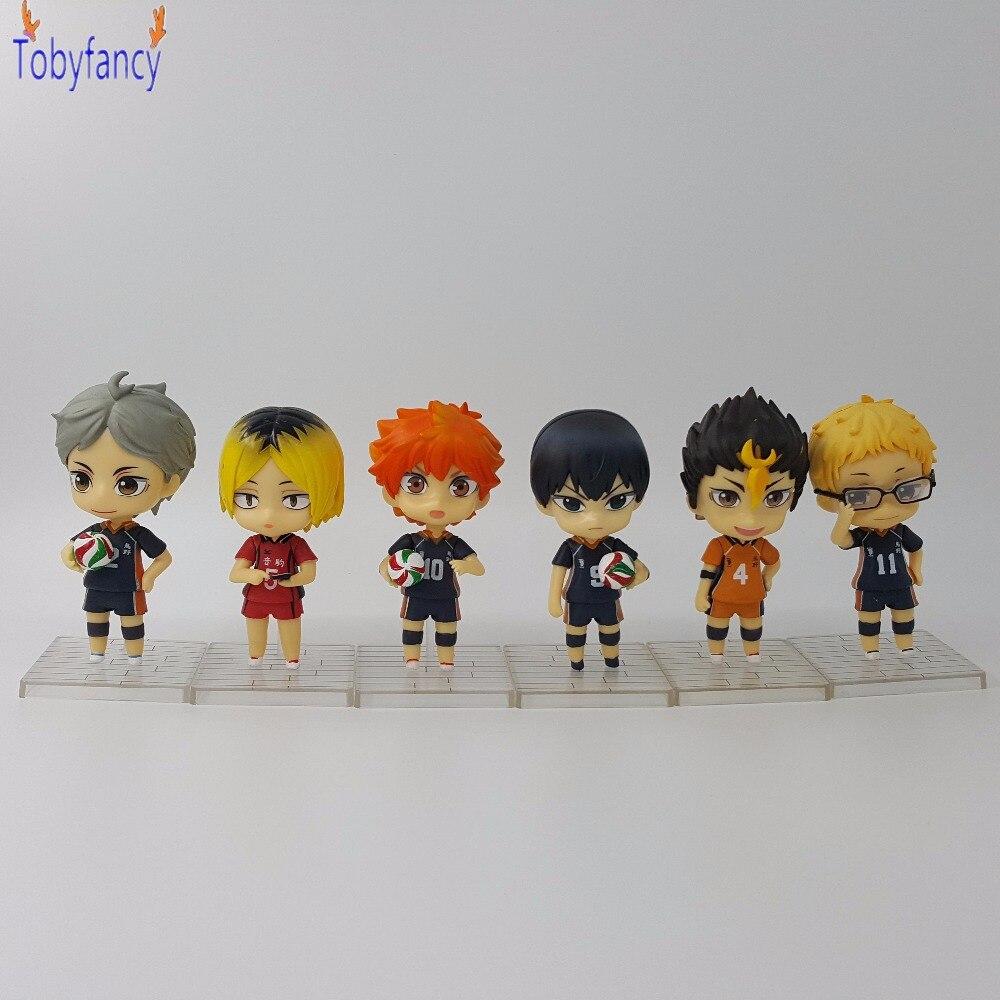 Anime Haikyuu Nendoroid Hinata kageyama koushi PVC Action Figure 10CM Volleyball Figures Haikyuu Collection Model Doll 6pcs/set anime haikyuu high school volleyball