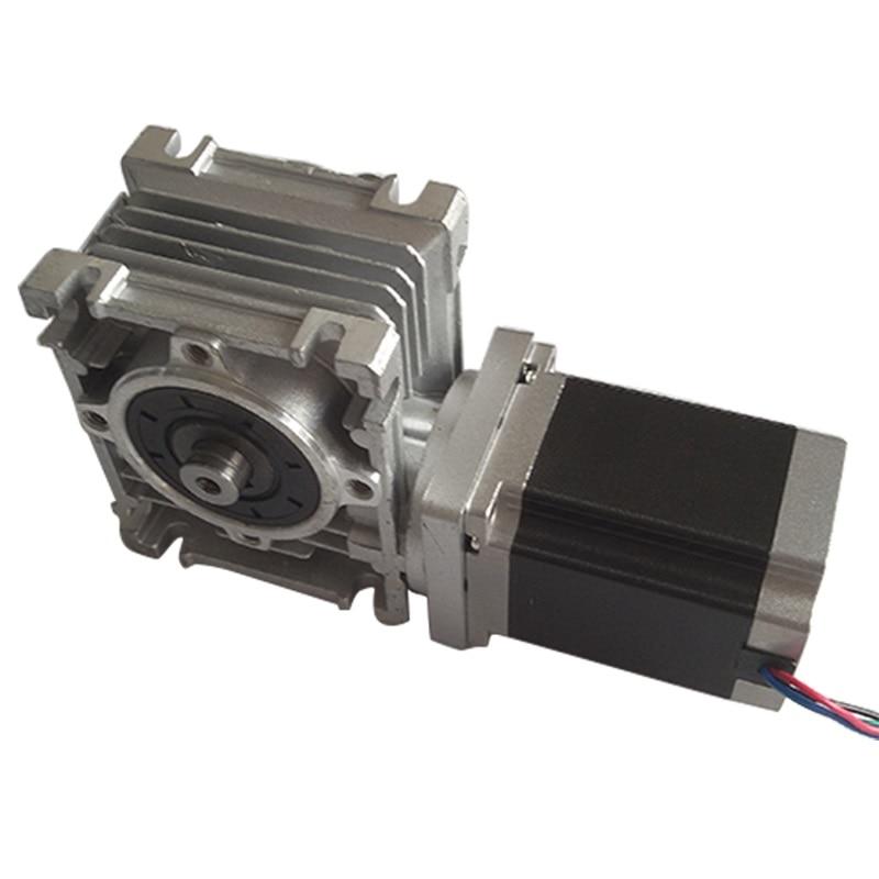 NMRV30 Worm Gearbox Ratio 10 1 with single output shaft NEMA23 1 8Nm stepper motor 76mm