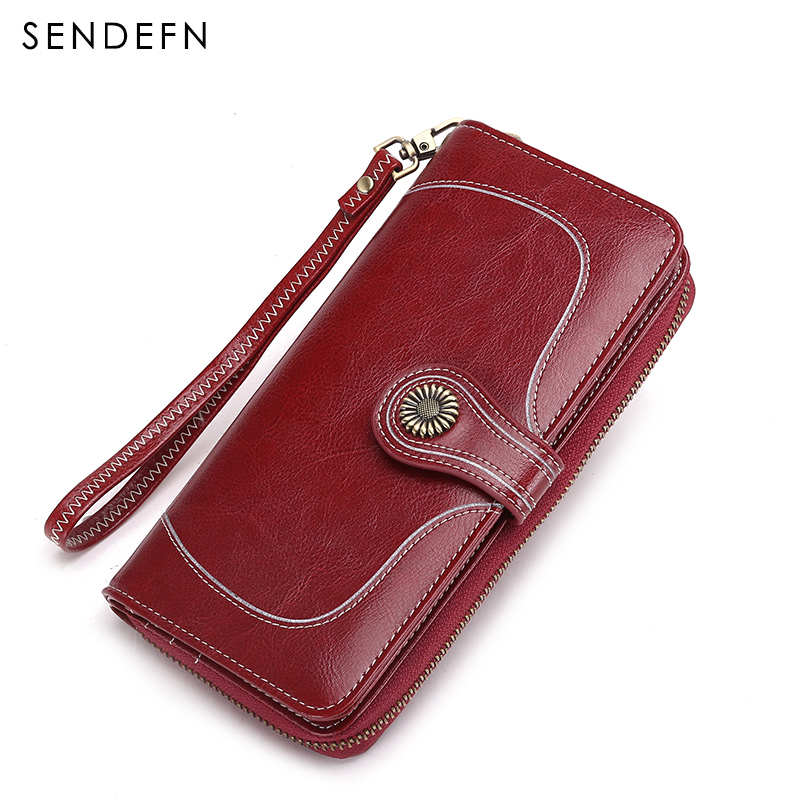 SENDEFN fashion vintage women wallets split leather long zipper clutch purse lady retro large capacity wallet