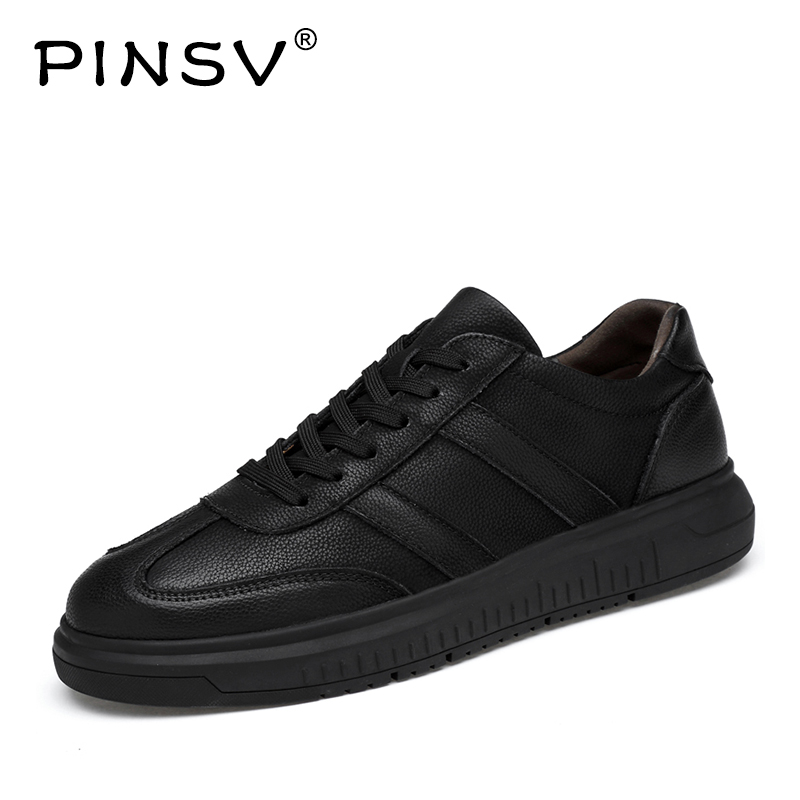 PINSV Male Genuine Leather Shoes Outdoor Shoes Men Casual Man Flats High Quality Leather Genuine Mens Shoes Large Sizes 36-47 male casual shoes soft footwear classic men working shoes flats good quality outdoor walking shoes aa20135