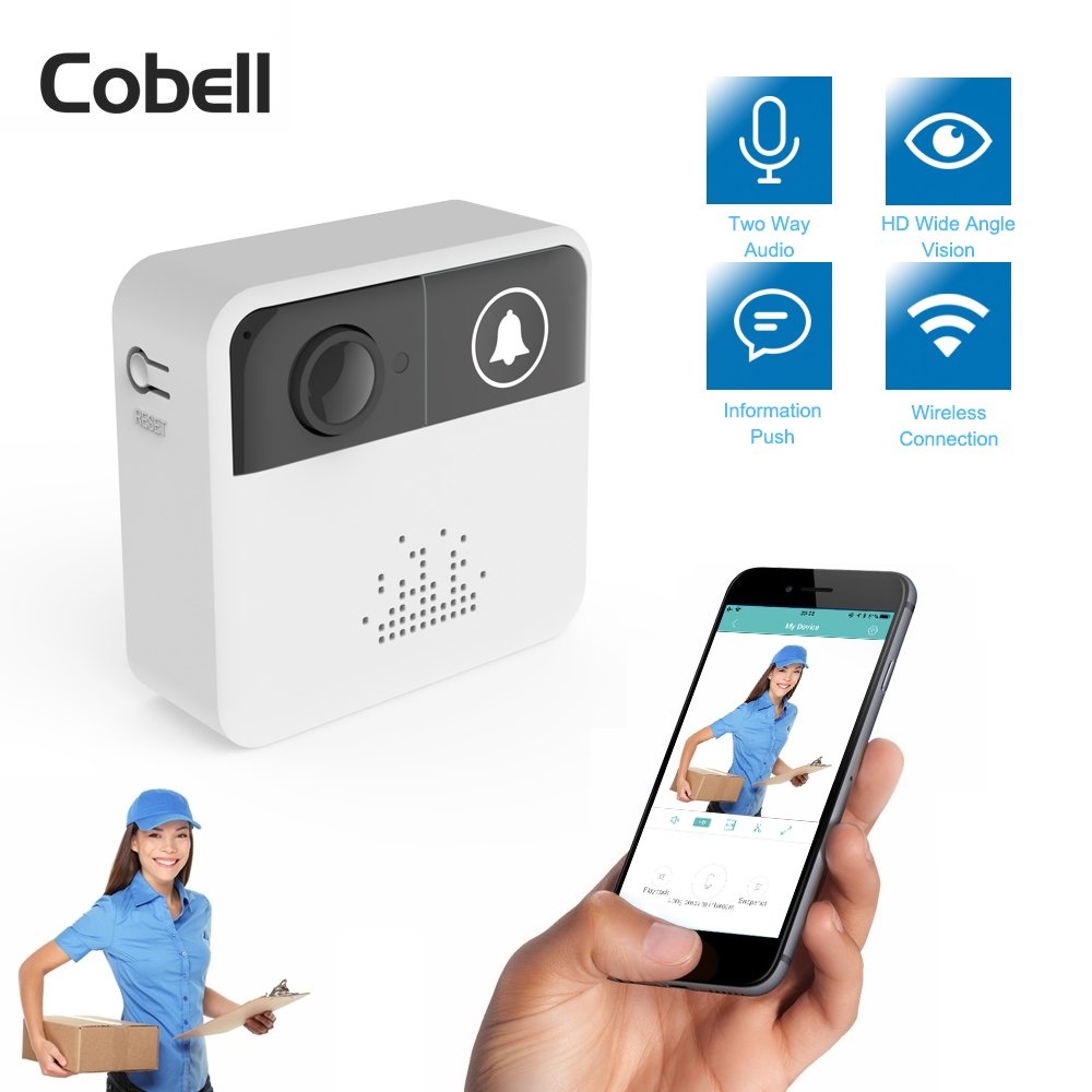 Cobell 720P HD Wireless WIFI Doorbell Battery Door Camera Two Way Audio Intercom IP Door Bell Home Security APP Control(China)