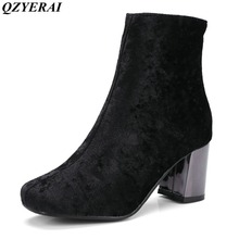 QZYERAI New arrival winter suede high heel ladies boots warm fashion square shoes Martin boots