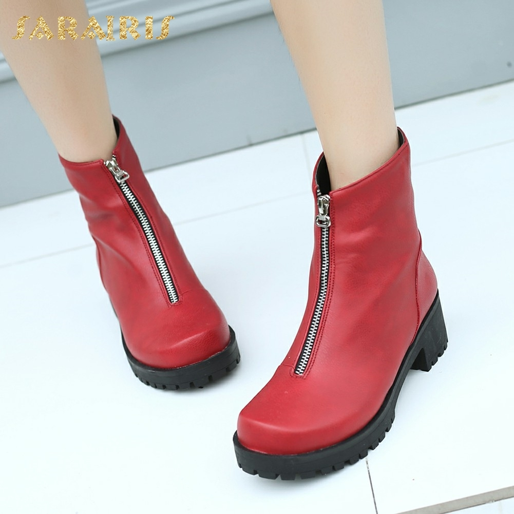 SARAIRIS plus Size 34-43 New Fashion Winter Boots Woman Shoes Square Heels Zip Up Ankle Boots Platform Shoes Woman sarairis new plus size 32 43 sequin add fur winter boots woman new fashion dropship zip up ankle boots woman shoes woman