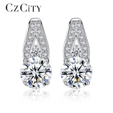 CZCITY Trendy Korean Style 925 Sterling Silver Earrings Jewelry Of Silver High Quality Hearts& Arrows Cubic Zirconia Jewelry