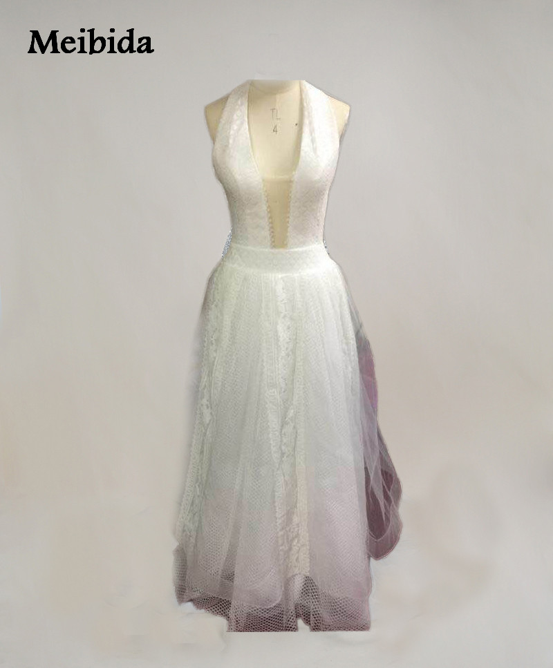 Halter Style Wedding Gowns: Romantic Boho Beach Wedding Dress Sexy Backless Halter