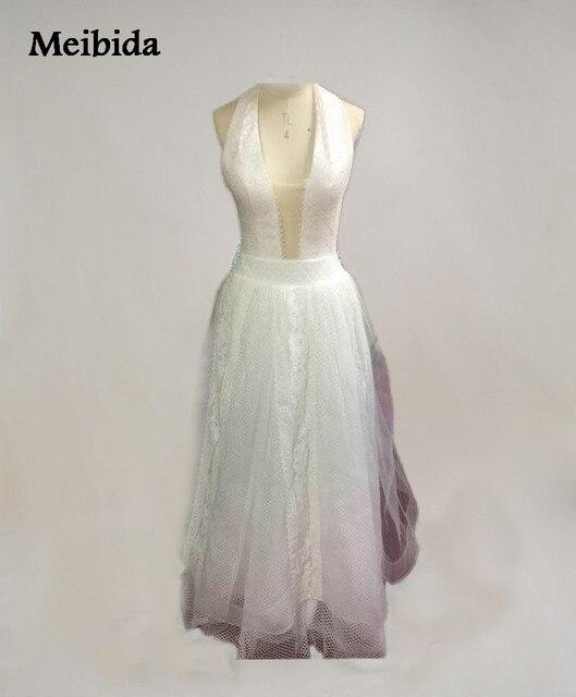 Romantische Boho Strand Hochzeitskleid Reizvolle Backless Halter ...