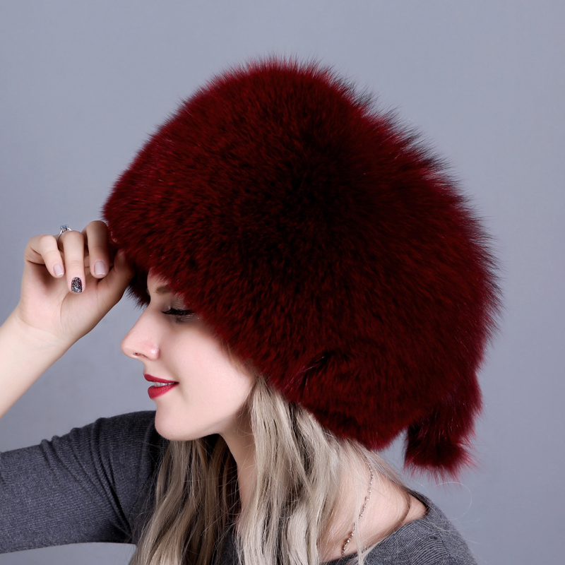 Natural Fox Fur Hat Winter Women Fur Hat Silver Fox Fur High Quality Luxury White Fox
