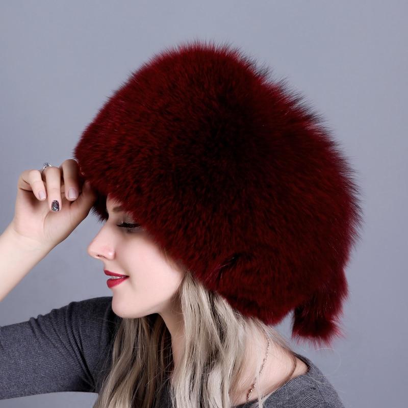 Natural Fox Fur Hat Winter Women Fur Hat Silver Fox Fur High Quality Luxury White Fox Fur Hat Warm Headwear Free Shipping