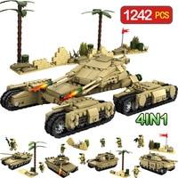 1242pcs 4 In 1 Army Model Tanks LegoINGLy WW2 MilitaryAssemblage Building Blocks Set Weapon Tank DIY Bricks Toys For Children