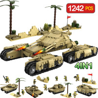 1242pcs 4 In 1 Army Model Tanks LegoINGLy WW2 MilitaryAssemblage Building Blocks Set Weapon Tank DIY Bricks Toys For Children