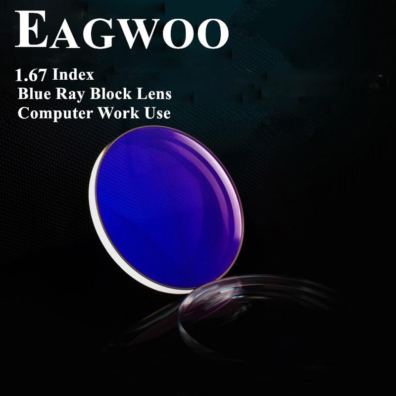 1 67 Index Super Thin Aspheric Blu Ray Block UV400 for Computer Use Anti Radiation Resin