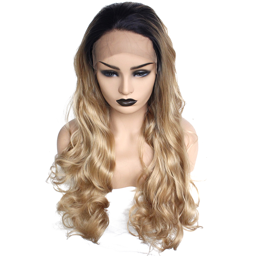 Hearty Long Dark Roots Ombre Bleach Blonde Two Tone Heat Resistant Fiber Wig Synthetic Lace Front Straight Wigs For African American Lace Wigs Hair Extensions & Wigs