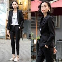 Women 2 Piece Business Blazer Suit Set Slim Business