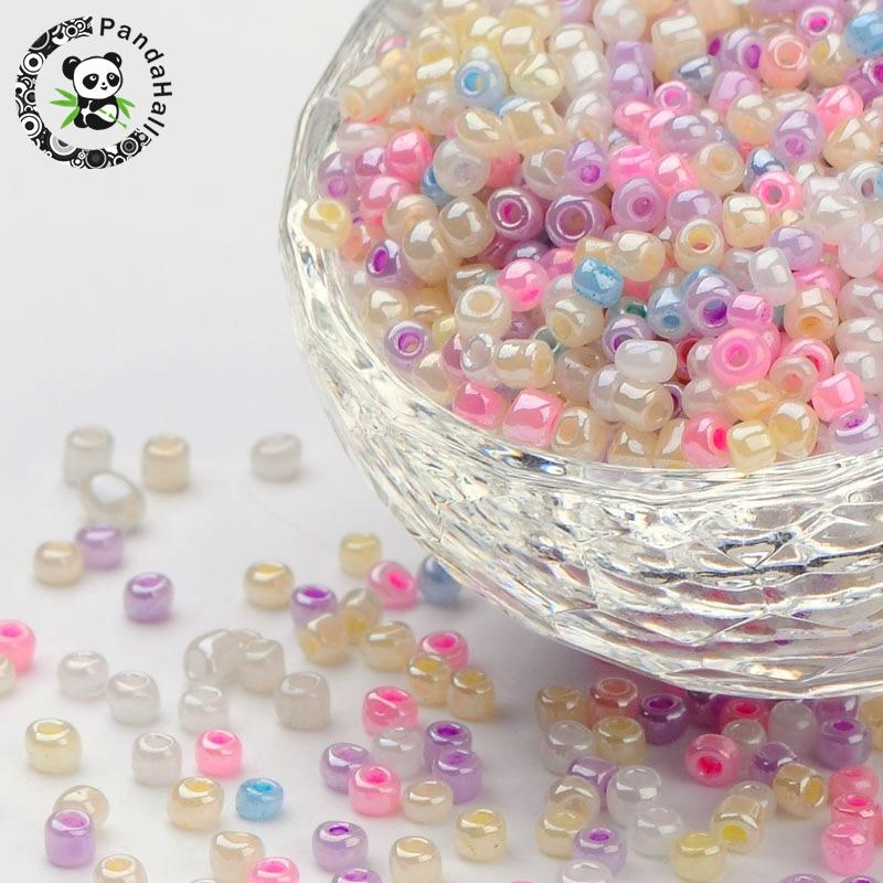 8/0 Glass Seed Beads, Round Hole Rocailles, Mixed Color, about 3mm in diameter, hole: 0.8mm, about 10000pcs/pound food machinery cutter hole reamer series pitch diameter 3mm to 8mm diameter aperture 8
