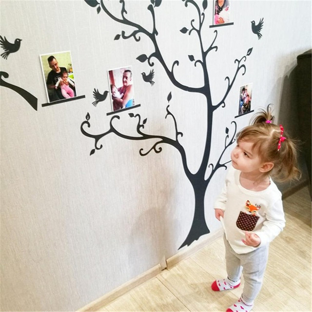Large size 200*260cm colorful DIY photo vinyl wall stickers tree for living room bedroom mural art wallpaper home decor 3