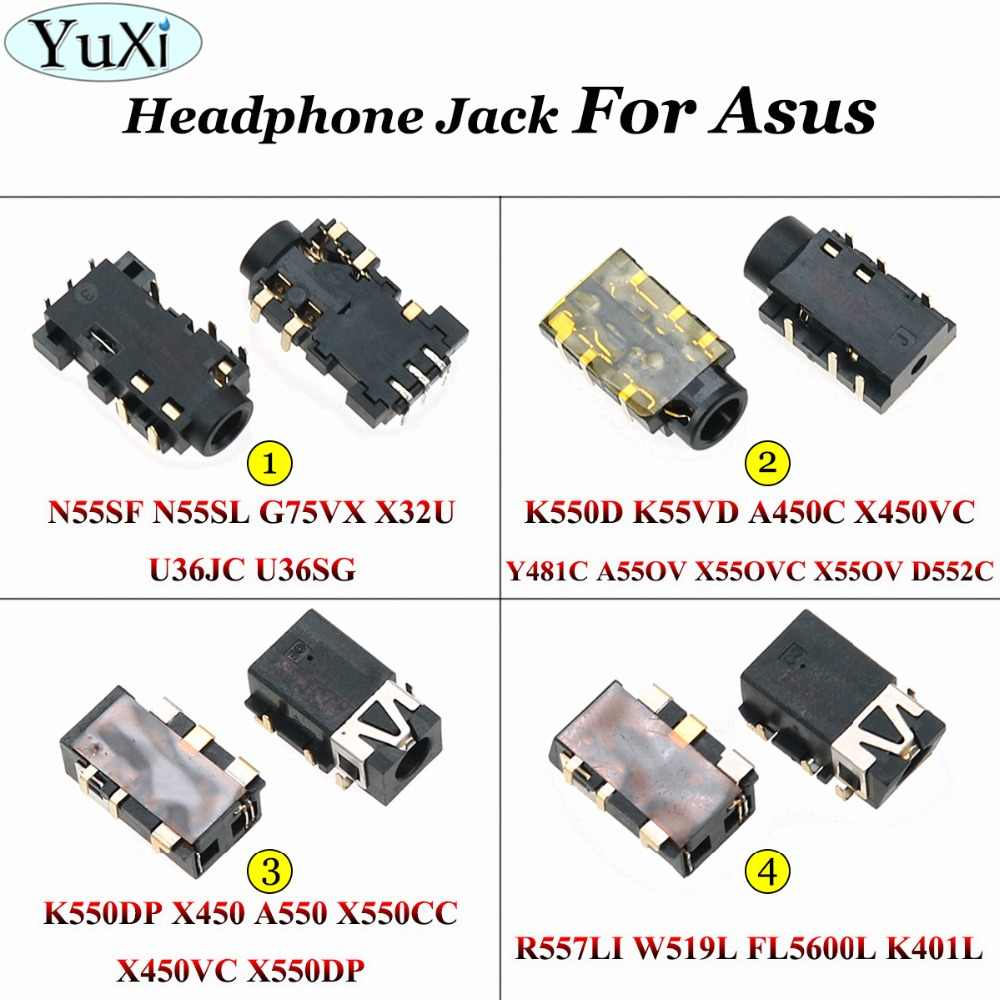 YuXi 6 8-pin 3,5mm auriculares con clavija de audio Puerto micrófono conector hembra para Asus 55SF N55SL G75VX K550D K550DP X450 A550 R557LI