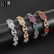 HIP Hop Multi-color Width Iced Out Rhinestoned 12MM 20CM Gold Silver Coffee Beans Link Chain Bracelets Chain For Men Jewelry alloy rhinestoned fringed chain earrings