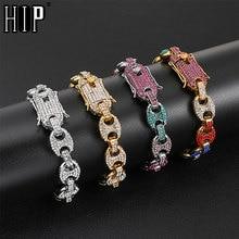 купить HIP Hop Multi-color Width Iced Out Rhinestoned 12MM 20CM Gold Silver Coffee Beans Link Chain Bracelets Chain For Men Jewelry по цене 300.91 рублей