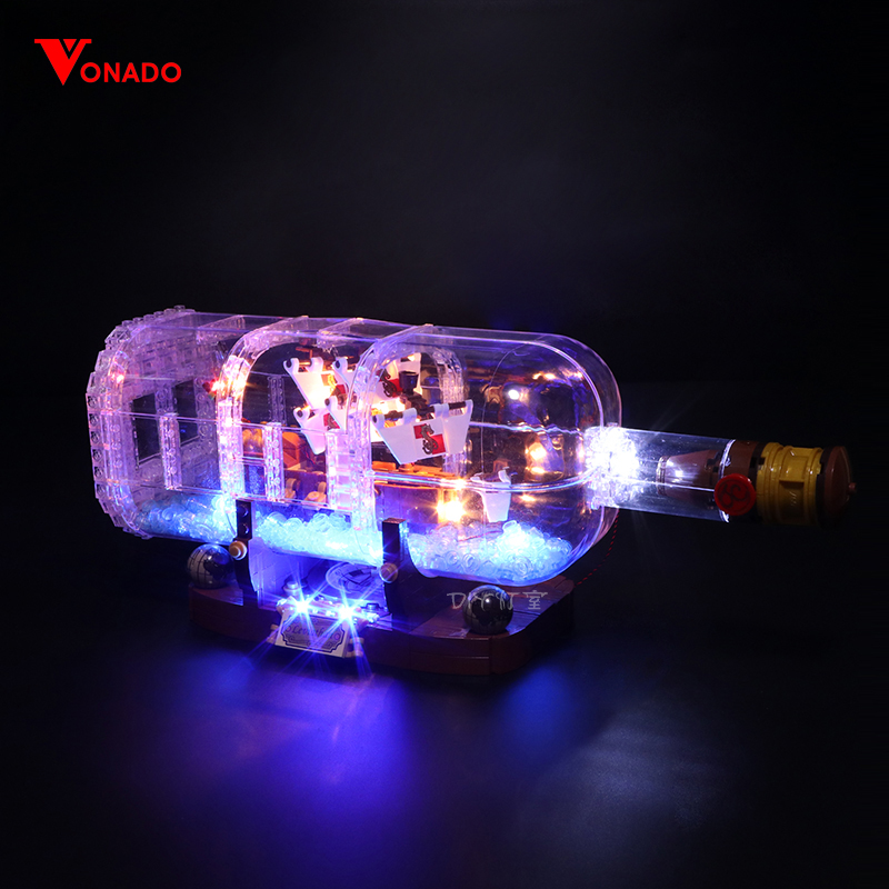 Led Light Set Compatible For <font><b>Lego</b></font> <font><b>21313</b></font> Ideas Serie 16051 creator ship in a Bottle Building Blocks Bricks(only LED light) image