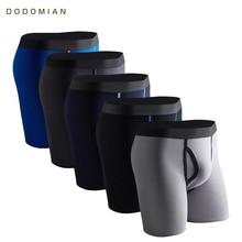 5 Pcs/Lot Long Boxers Men Boxer for Men Cotton Soft Breathable Mens Underwear Men Boxershorts Male U convex US Size S M L XL XXL