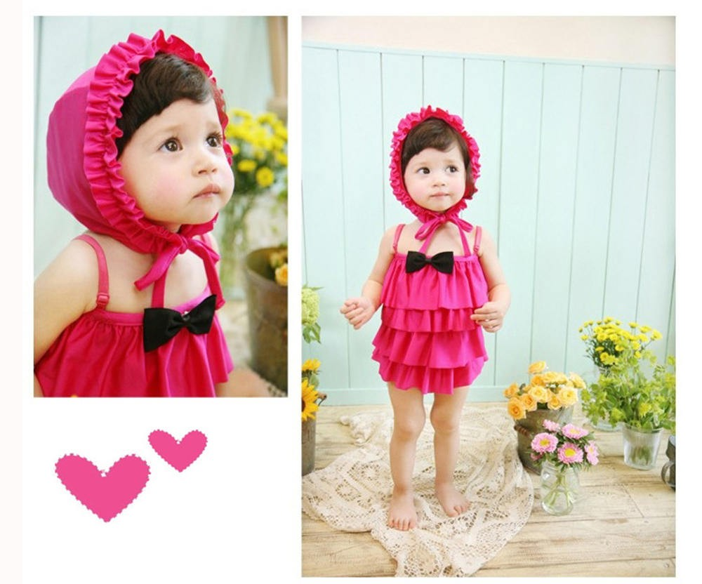 Ruffles Kids One-piece Dress Girl Children Swimwear Baby Bathing Suit For 2-9 years old