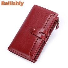 Купить с кэшбэком Bellishly Women wallets leather genuine Female Long Clutch Walet Lady Portomonee Luxury Brand Money Bag Magic Zipper Coin Purse