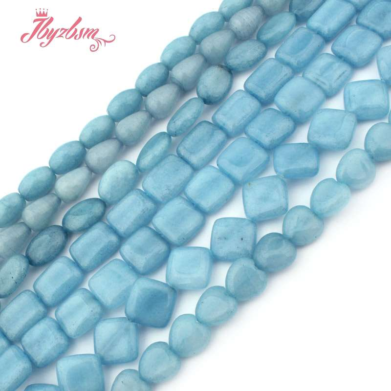 8x12,10x14,12mm Rectangle Oval Square Aquamarines Jades Stone Beads For Necklace Bracelets DIY Jewelry Making 15
