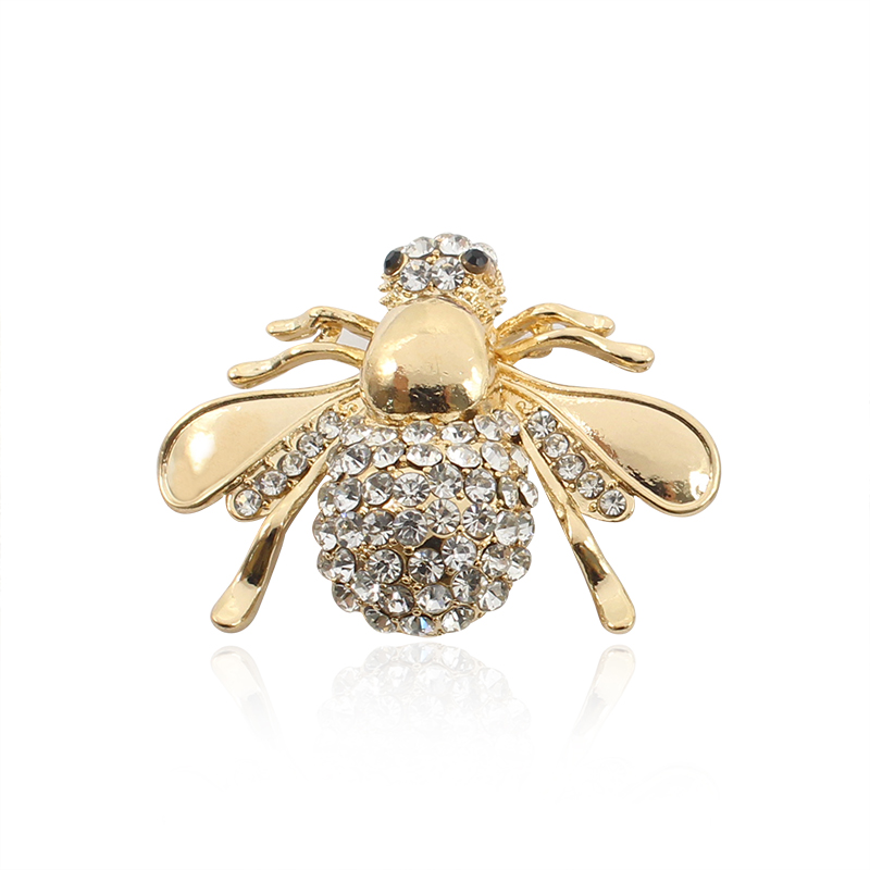 Fashion Animal Insect Brooch Jewelry Rhinestone Honeybee Honey Bee Pins Brooches For Women Gold Silver Pin Broche Femme Bijoux