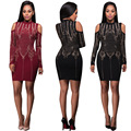 Womens Sexy Rhinestone Long Sleeve O-Neck Off Shoulder Above Knee Dresses Clubwear Clothes
