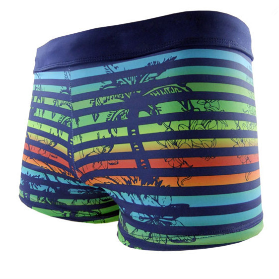 3251b47b35 Funfeliz Boxer Swimming Trunk for Men Nylon spandex Striped Swimsuit Teenage  Boy Swimwear Mens Swim Shorts Men Sunga Swimwear