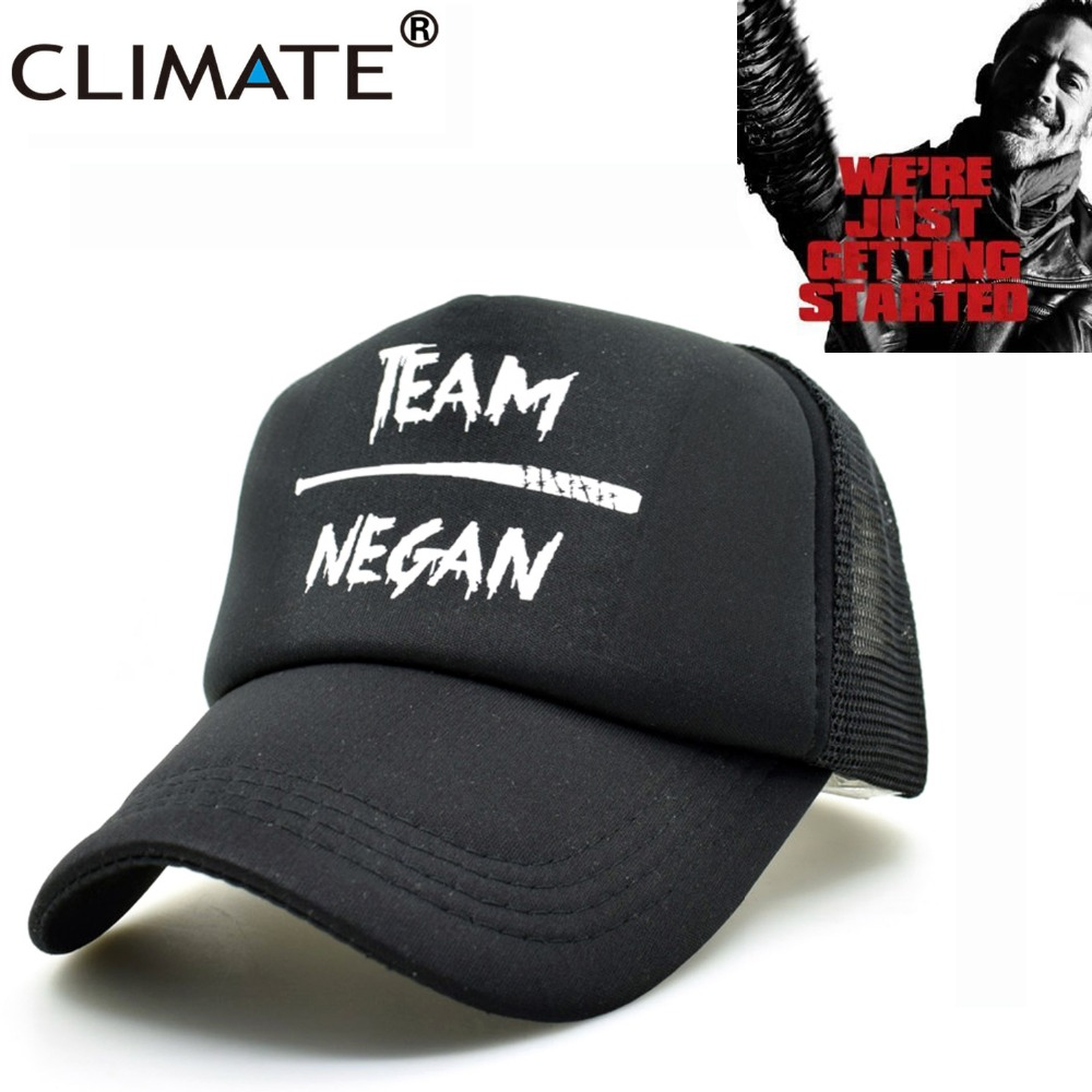 CLIMATE New The Walking Dead Team Negan Summer Cool Black Mesh Trucker Caps Adjustable Men Women Summer Cool Baseball Caps Hats climate new summer cool black mesh trucker caps guardians of the galaxy groot fans printing meh youth nice mesh cool summer caps