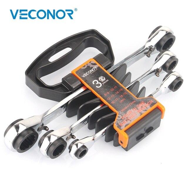 3PCS Ratchet Wrench Spanner Set of Keys 72T Ratcheting CRV Steel Full Polish A Set of Reversible Multitool Rack Packed