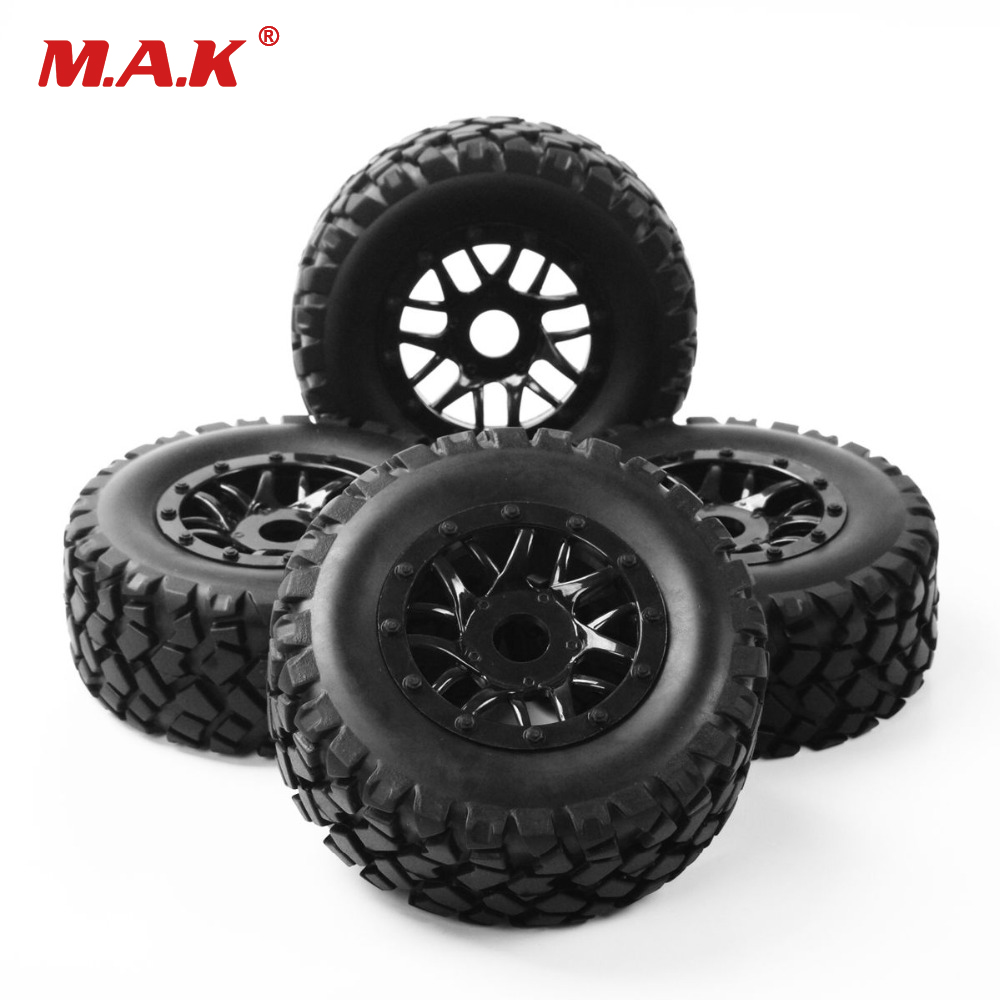 RC 1:10 Short Course Truck Tires Tyre Wheel Rim 17mm Hex With Adapter For TRAXXAS SLASH HPI Car Parts & Accssory PP0339+PP1003K 4pcs rc monster truck wheel rim tires kit for 1 10 traxxas tamiya hsp hpi kyosho rc trucks car rubber tyre parts