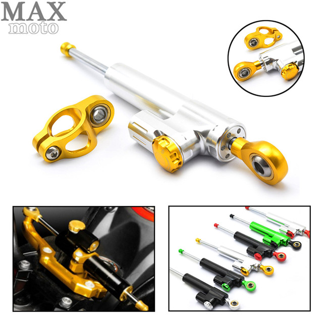 US $36 18 17% OFF Universal Motorcycle CNC Damper Steering Stabilizer  Damper Linear Reversed Safety Control for ktm exc kawasaki harley  touring-in