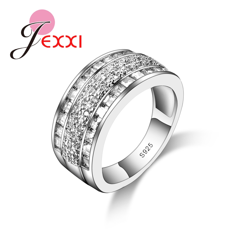 YAAMELI Brand Creative Design Wide 925 Sterling Silver Rings For Women Engagement Accessories Paved White Shiny Crystals Anillos