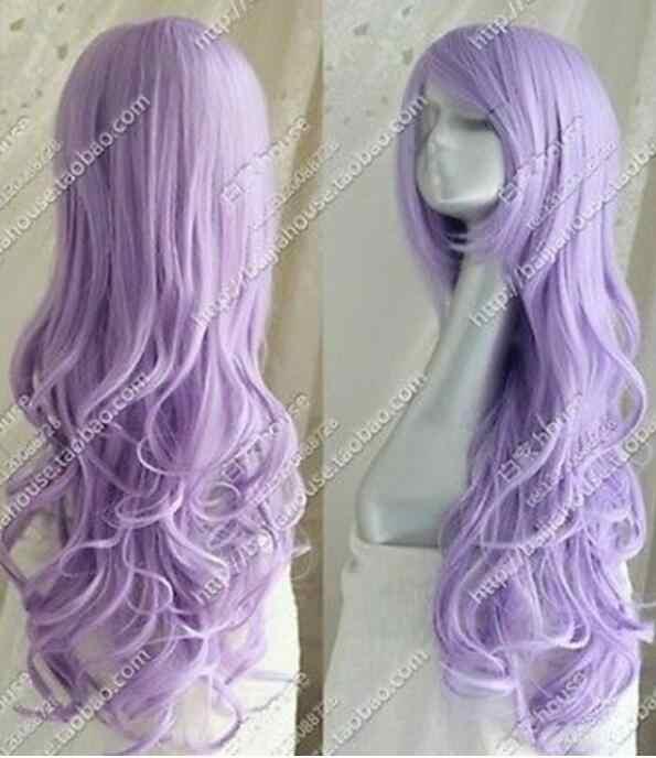 Парик Cos светло-фиолетовые длинные волнистые кудрявые для косплея Полный парик Бесплатная доставка