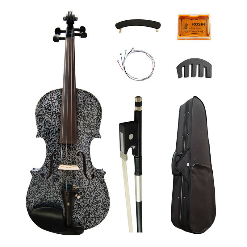 Art Acoustic Violin 4/4 Lotus Painted High-grade Ebony Fittings Maple Black Violino Music Instruments w/ Full Accessories kinglos antique acoustic violin 4 4 beethoven carved maple art violin ebony fittings with shoulder rest case bow rosin bridge