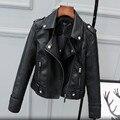 Весна 2017 Кожаная Куртка Женщин Корейской Моды Hasp кожа Пальто марка Большой Размер Шорты Искусственная Кожа Куртки Осень 2XL 4XL C448