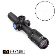 Discovery HD 1-6X24 ИК длинный визирования тактический прицел для винтовки для охоты оптический боковая иллюминация R & G прицел fit 30-06 308 AR15