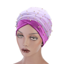 LARRIVED New Luxury Women scarf Hijab Hats Velvet Gold Beaded Decorate Long Head Scarf Turban Caps Indian Wrap Cap