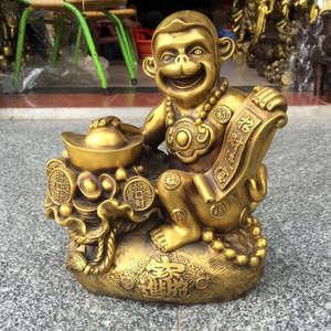 DMtse Mini Statue de singe antique en laiton pour la m/éditation et la m/éditation assis Petite statue de singe